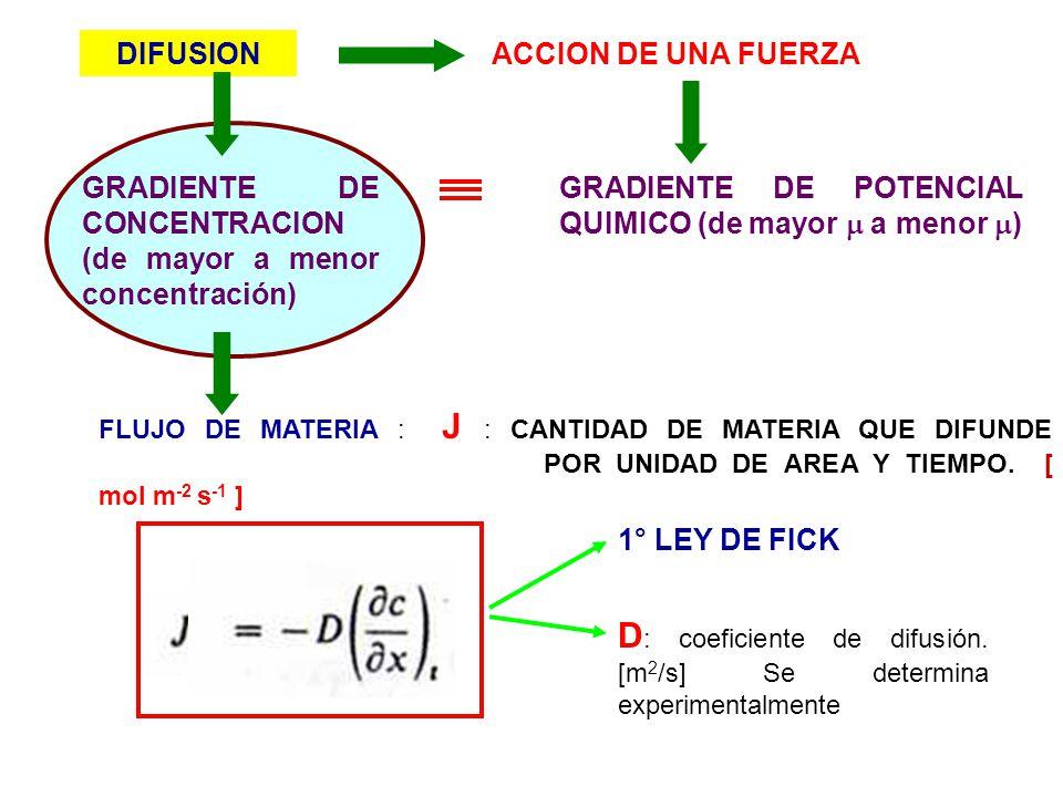 D: coeficiente de difusión. [m2/s] Se determina experimentalmente